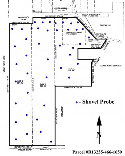 Shovel test probe locations