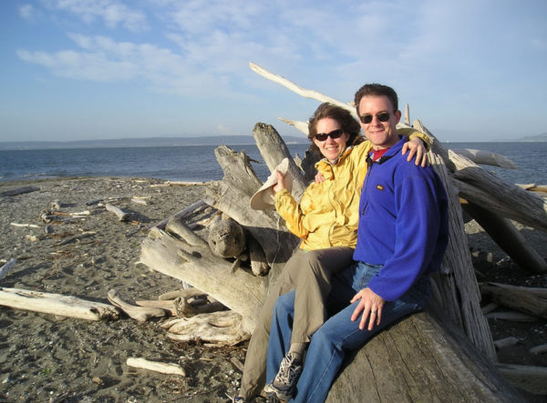 On driftwood at Coupeville's Long Point beach