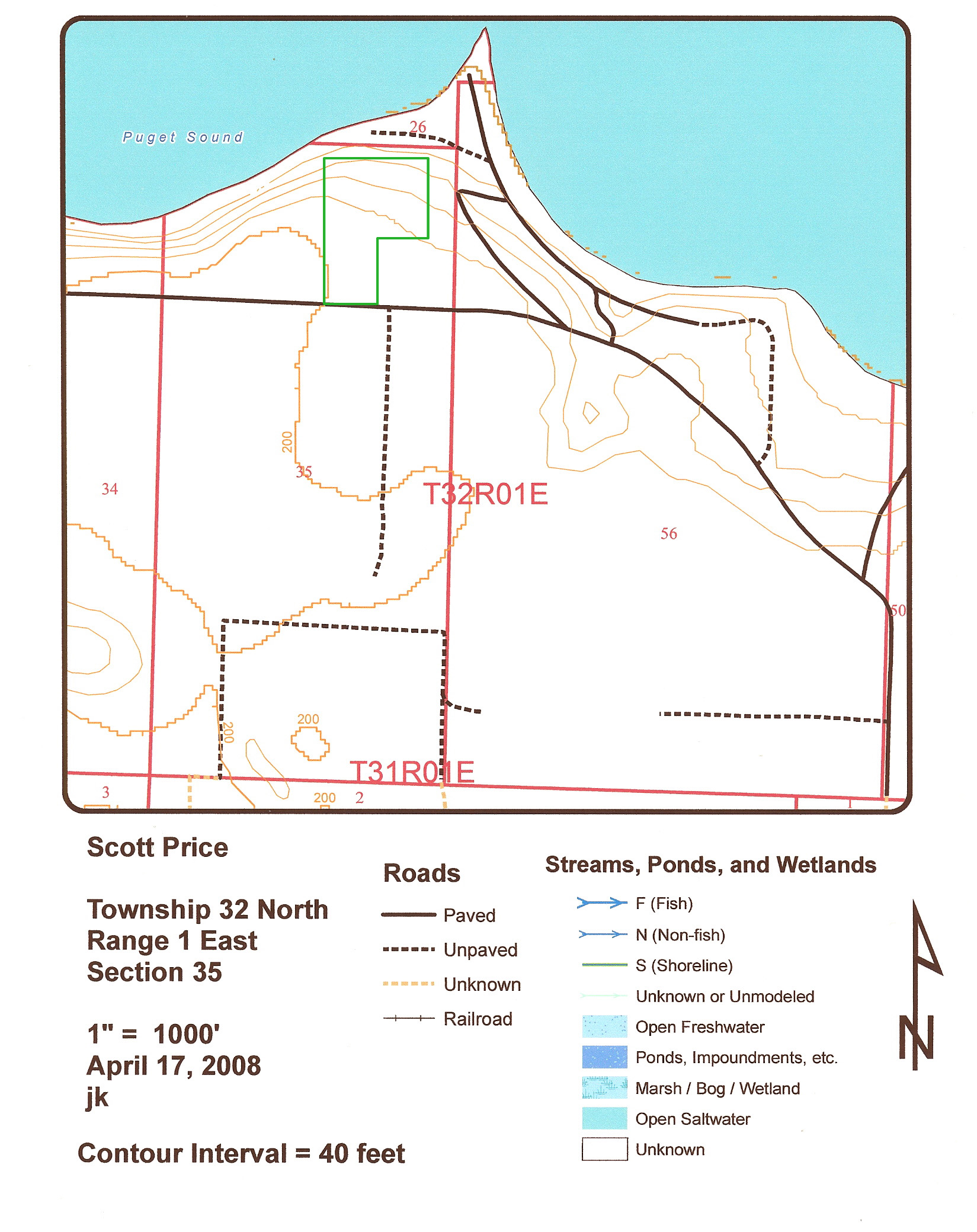 DNR contours map with approximate parcel overlay