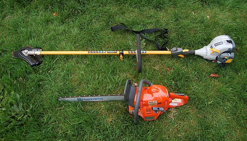 Husqvarna 450e chain saw and Ryobi BC30 brush cutter