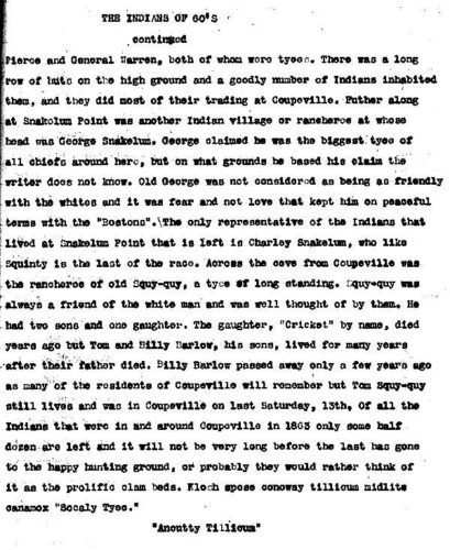 Island County Times article local Indians in 1860s page 2