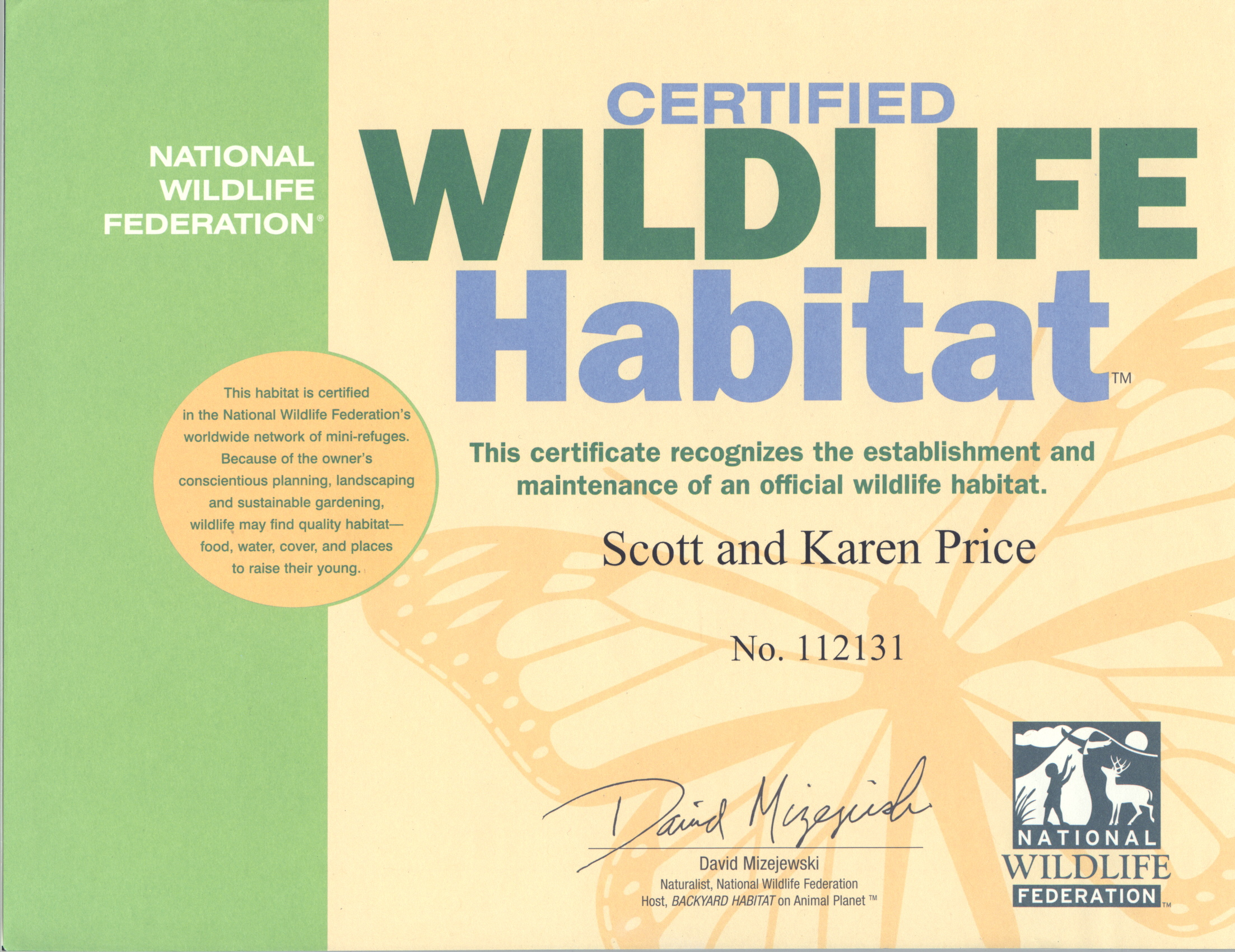 National Wildlife Federation Certified Wildlife Habitat certificate