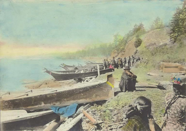 1895 Skagit Indian Native American canoes on Coupeville Penn Cove