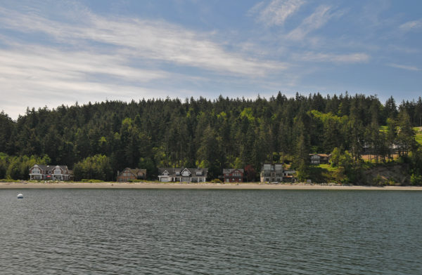 View of property from Penn Cove of Price Sculpture Forest park in Coupeville on Whidbey Island