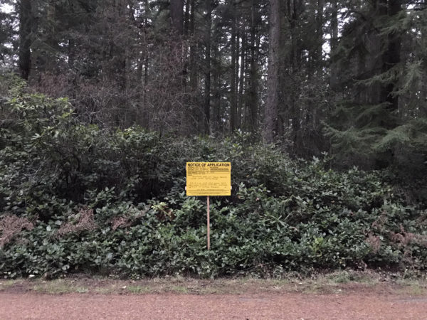 2019-12-18 Public Notice of Application sign by Parker Road