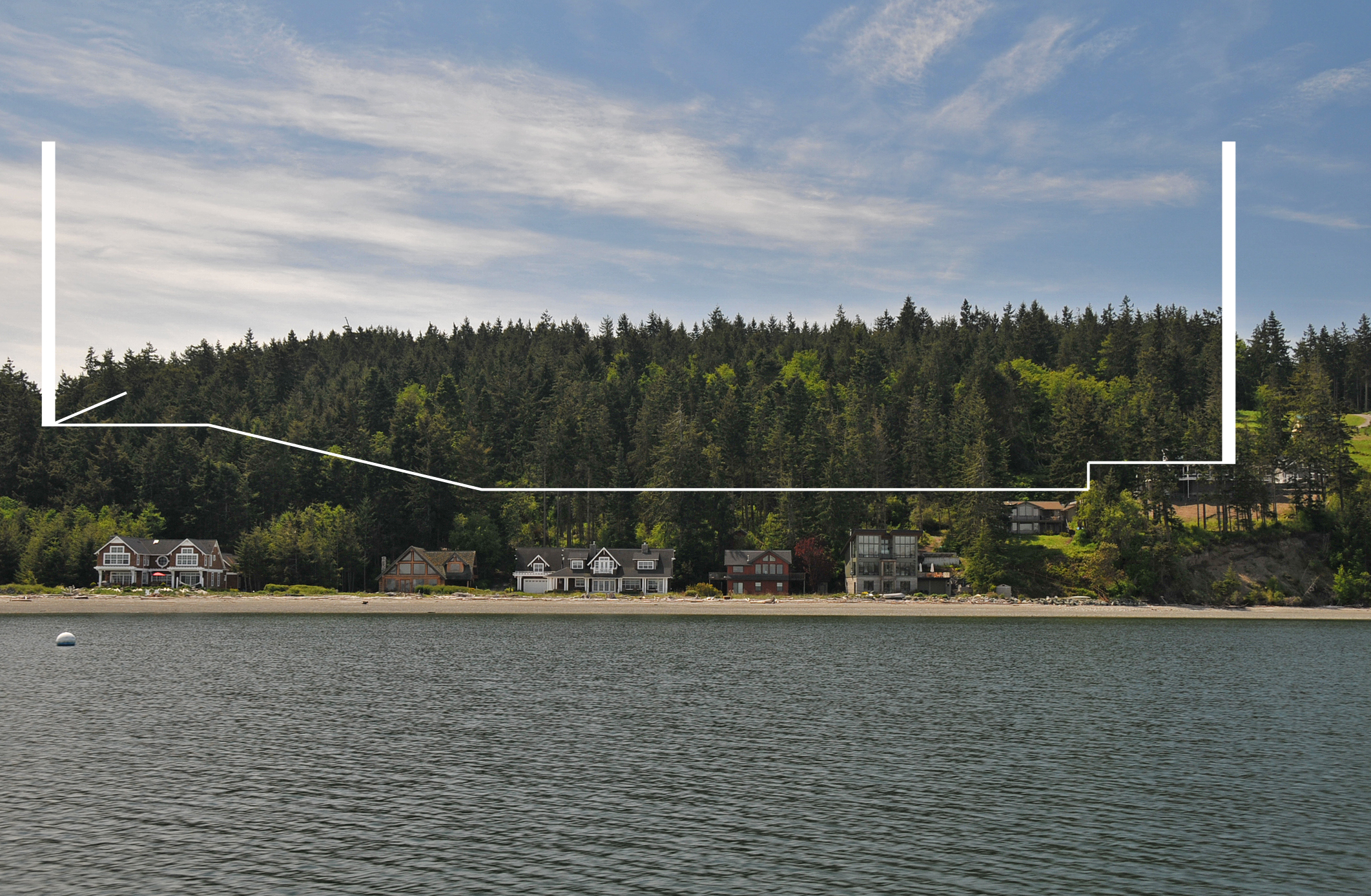 View of property from Penn Cove with property boundaries of Price Sculpture Forest park in Coupeville on Whidbey Island