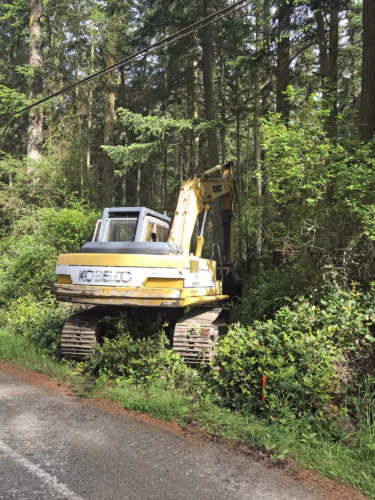 Price Sculpture Forest excavator entering location of future driveway to parking lot