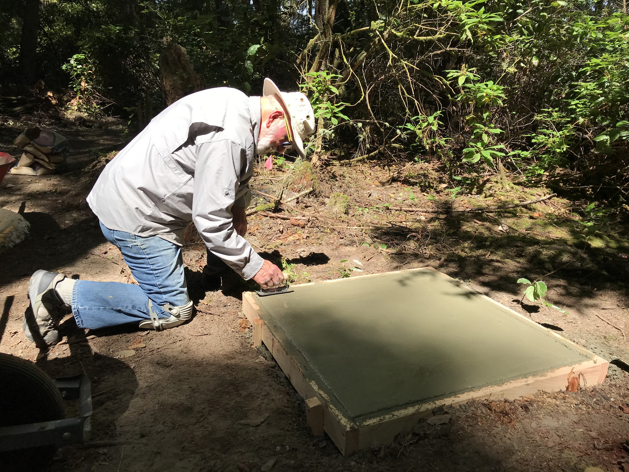 Ken Price working on first concrete sculpture plinth at Price Sculpture Forest