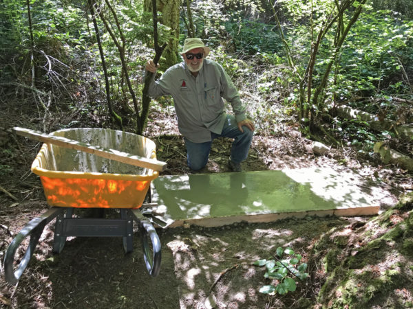 Ken Price working on second concrete sculpture plinth at Price Sculpture Forest