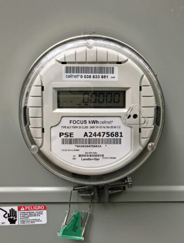 Puget Sound Energy PSE electric meter zero usage at Price Sculpture Forest