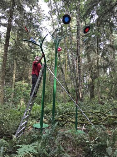Jeff Tangen Playa Flowers under construction at Price Sculpture Forest
