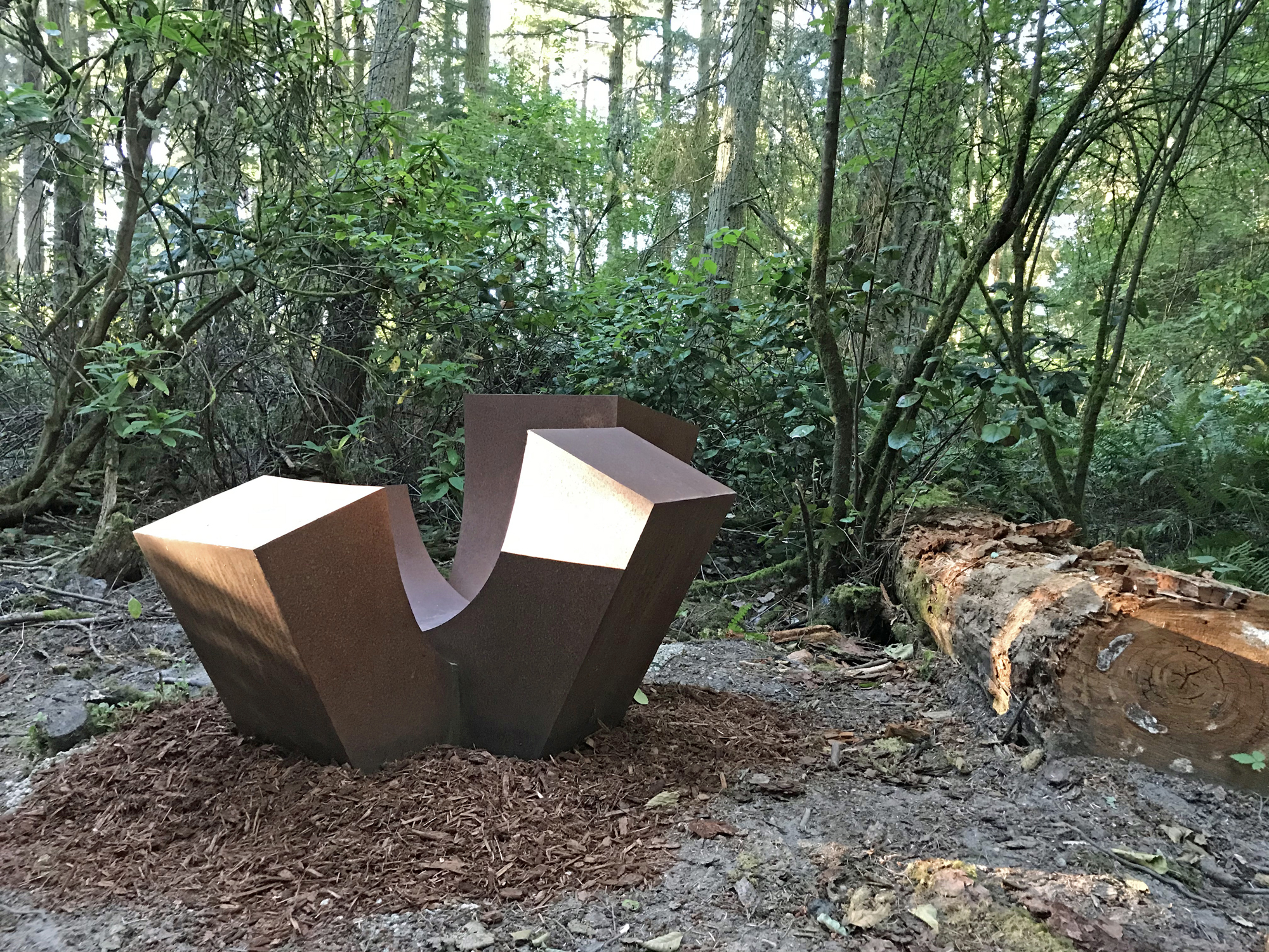 Sculptor Jan Hoy 4-Up at Price Sculpture Forest sculpture park Coupeville Whidbey Island