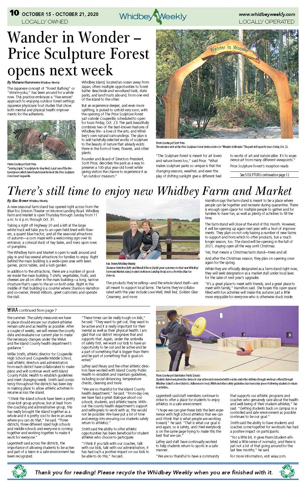 Whidbey Weekly article about Price Sculpture Forest page 1