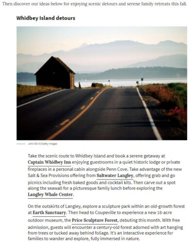 Seattle PI Article on scenic detours and serene retreats to take in the PNW and beyond this fall