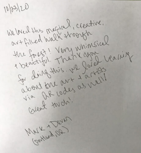 Devan Tolbert and Mark Bennett from Portland comments in Price Sculpture Park Participation Book