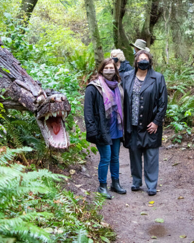 Helen Price Johnson and Molly Hughes with Pat Powell, Scott Price, and T Rex at Price Sculpture Forest