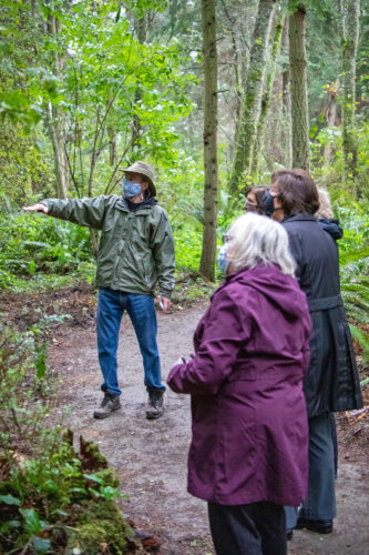Scott leading tour with officials in Price Sculpture Forest