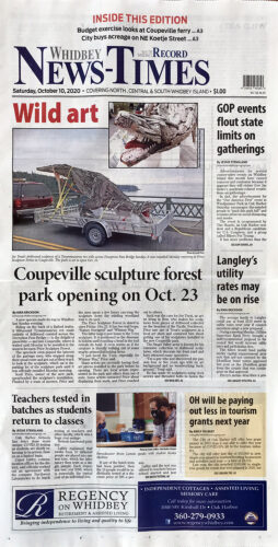Whidbey News Times October 10 2020 front page cover story about Price Sculpture Forest