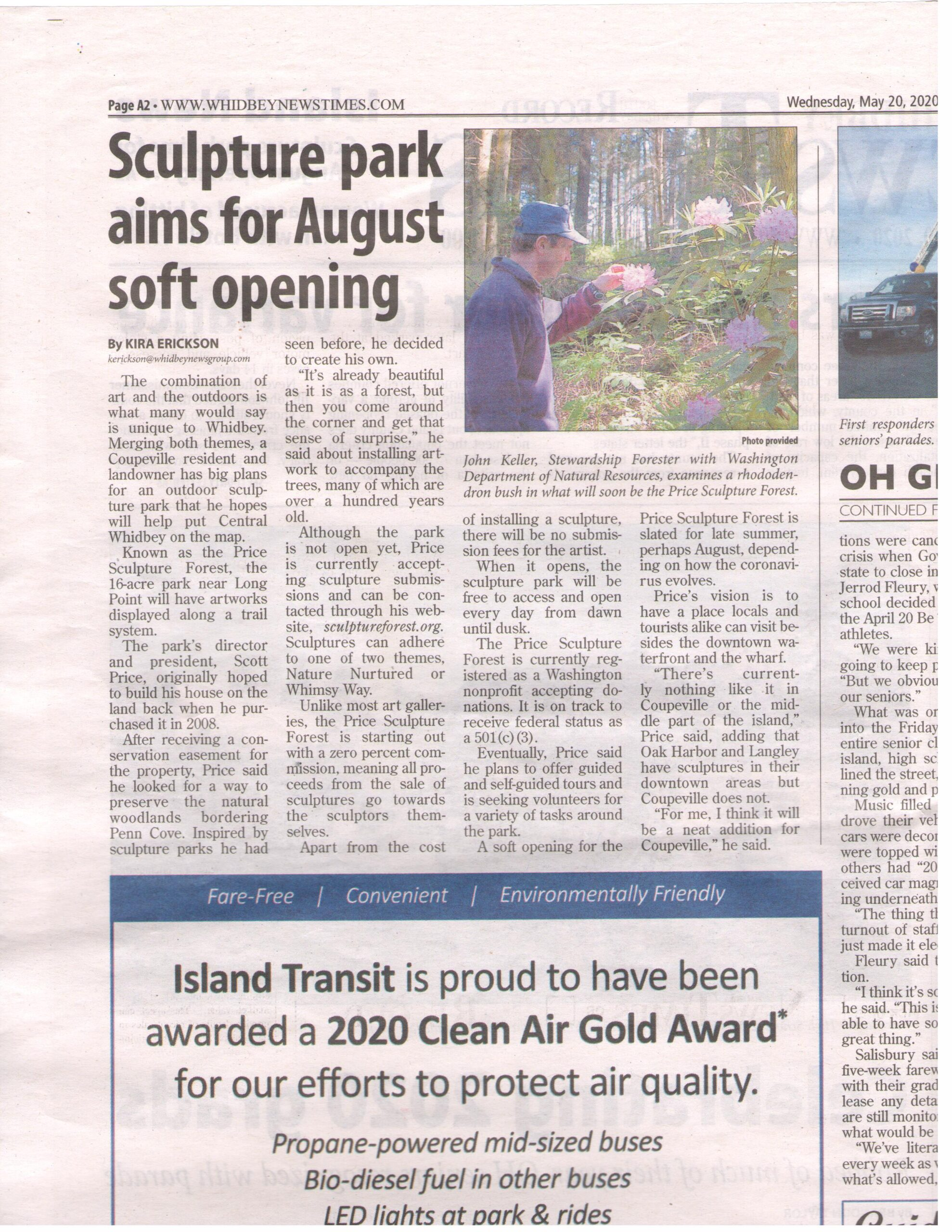 2020-05-20 Whidbey News Times article about Price Sculpture Forest under construction