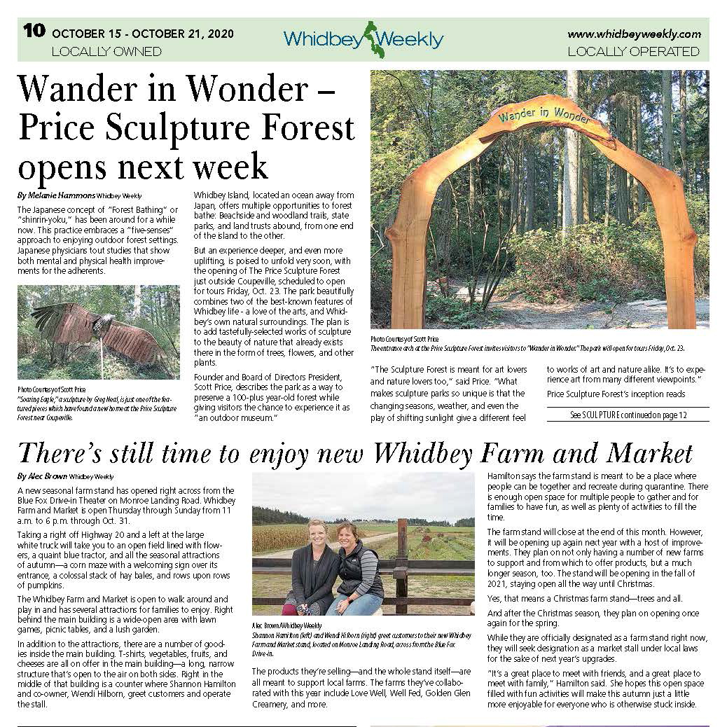 2020-10-15 Whidbey Weekly article about Price Sculpture Forest page 1 of article