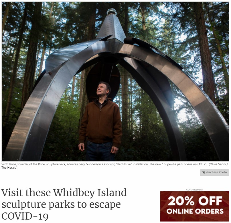 2020-10-22 Daily Herald Everett Article Visit these Whidbey Island Sculpture Parks to Escape COVID-19 intro