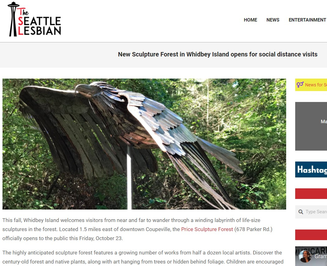 2020-10-23 The Seattle Lesbian article New Sculpture Forest in Whidbey Island Opens for Social Distance Visits intro
