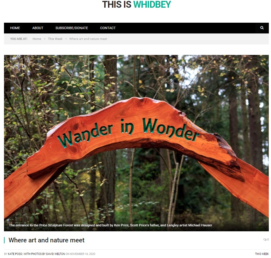 This Is Whidbey article Where Art and Nature Meet intro photo features Price Sculpture Forest