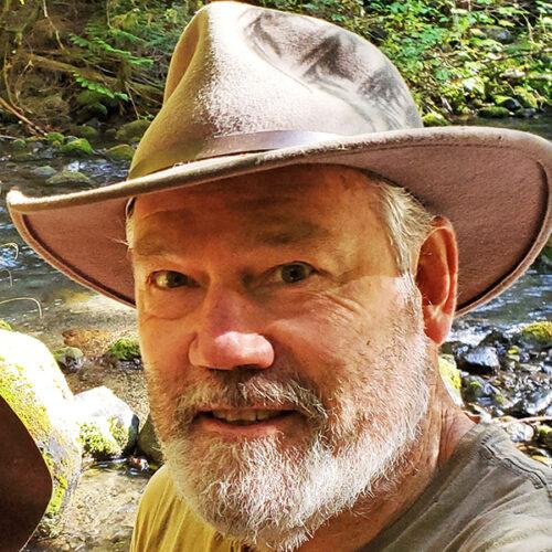 Bill Wentworth sculptor at Price Sculpture Forest park garden in Coupeville on Whidbey Island