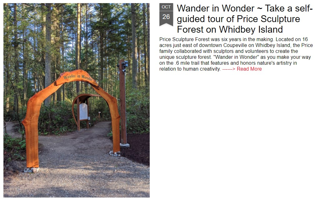 Eat Play Sleep Travels with Sue Frause article Wander in Wonder Take a Self-guided Tour at Price Sculpture Forest intro