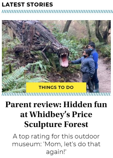 2020-12-26 Seattles Child cover page article intro about Price Sculpture Forest park garden in Coupeville on Whidbey Island