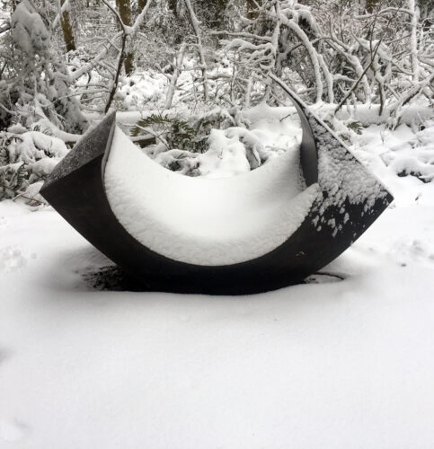 MacRae Wylde Inside Out 14 and 15 in snow at Price Sculpture Forest park Coupeville Whidbey Island