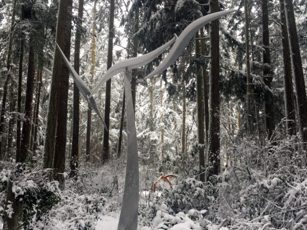 Jeff Kahn Wind Shear in snow at Price Sculpture Forest park garden Coupeville Whidbey Island