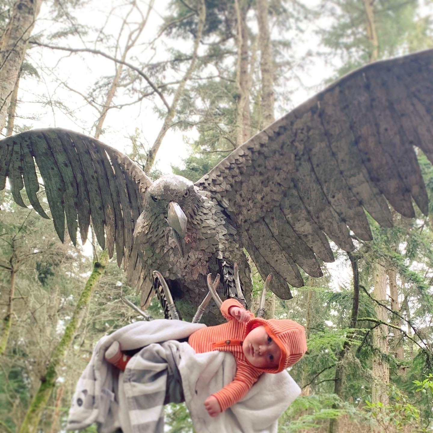 Greg Neal Attacking Eagle at Price Sculpture Forest - photo by Brianna Smith with son Elijah from Oak Harbor WA