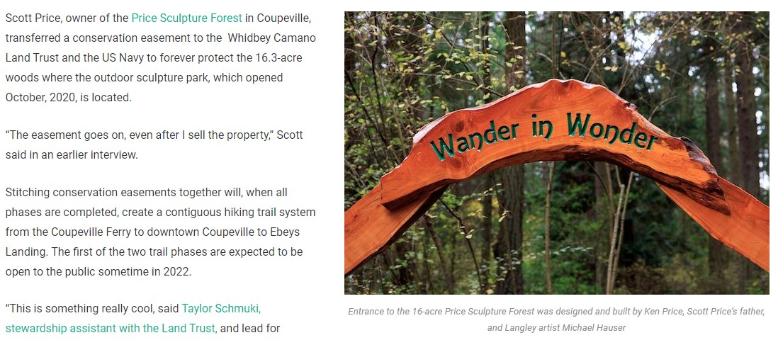 This Is Whidbey article Protecting Island County's Best Places including Price Sculpture Forest