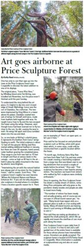 Whidbey Weekly page 10 article about Pat McVay Icarus Was Here at Price Sculpture Forest