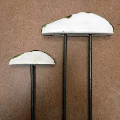 Jenni Ward Lichen Series Spore Patterns steel rod supports samples for Price Sculpture Forest site installation
