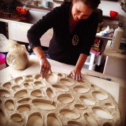 Ceramic sculptor Jenni Ward will be exhibiting her new site installation Lichen Series Spores Pattern at Price Sculpture Forest