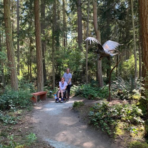 Xander and Shane by Greg Neal Attacking Eagle at Price Sculpture Forest photo by Martin Pearce of Bellevue WA