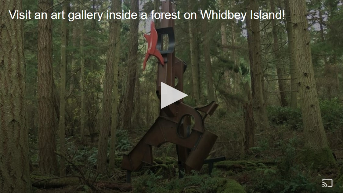 King 5 TV Evening show video at Price Sculpture Forest park garden in Coupeville on Whidbey Island