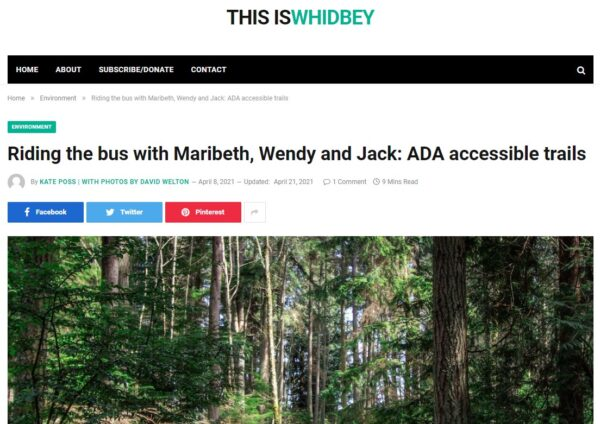 This Is Whidbey article intro ADA accessible trails includes Price Sculpture Forest