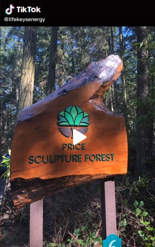 Beckie Evans TikTok video about Price Sculpture Forest park garden in Coupeville on Whidbey Island
