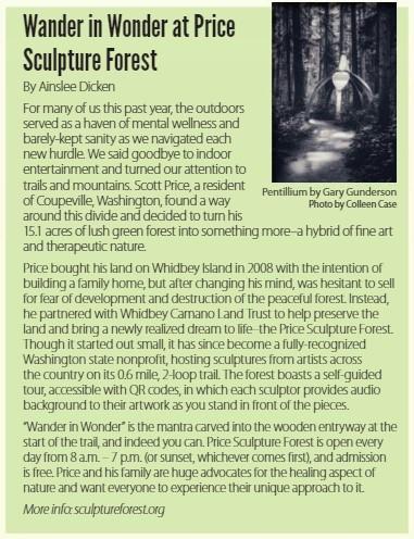Northwest Adventures magazine Wander in Wonder at Price Sculpture Forest article