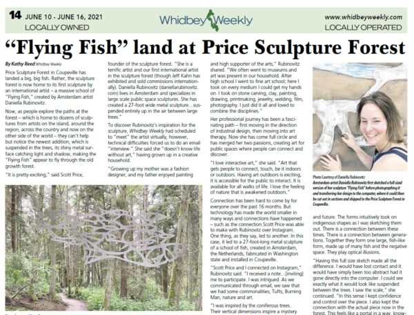 Whidbey Weekly article intro Flying Fish Land At Price Sculpture Forest about Daniella Rubinovitz
