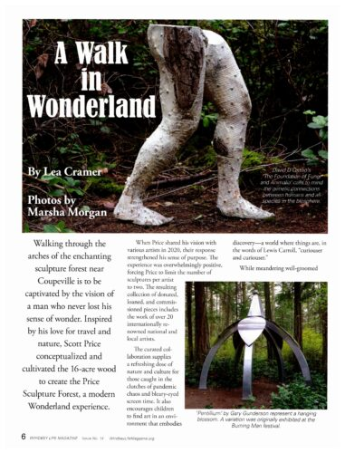 Whidbey Life Magazine A Walk In Wonderland story about Price Sculpture Forest