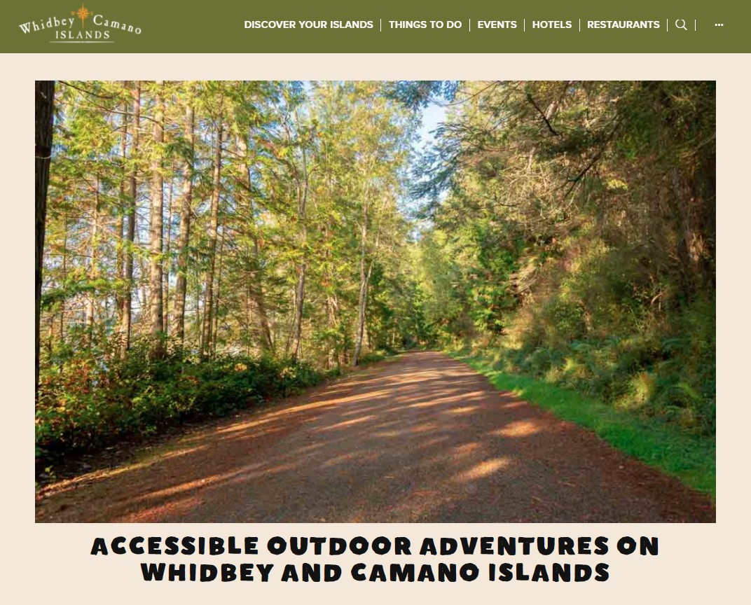Whidbey Camano Tourism Accessible Outdoor Adventures on Whidbey and Camano Islands intro including Price Sculpture Forest