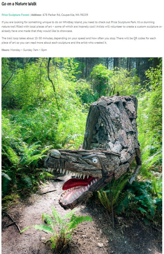 Clumsy Girl Travels article 12 Epic Things to Do On Whidbey Island, Washington A Perfect Weekend Getaway includes Price Sculpture Forest