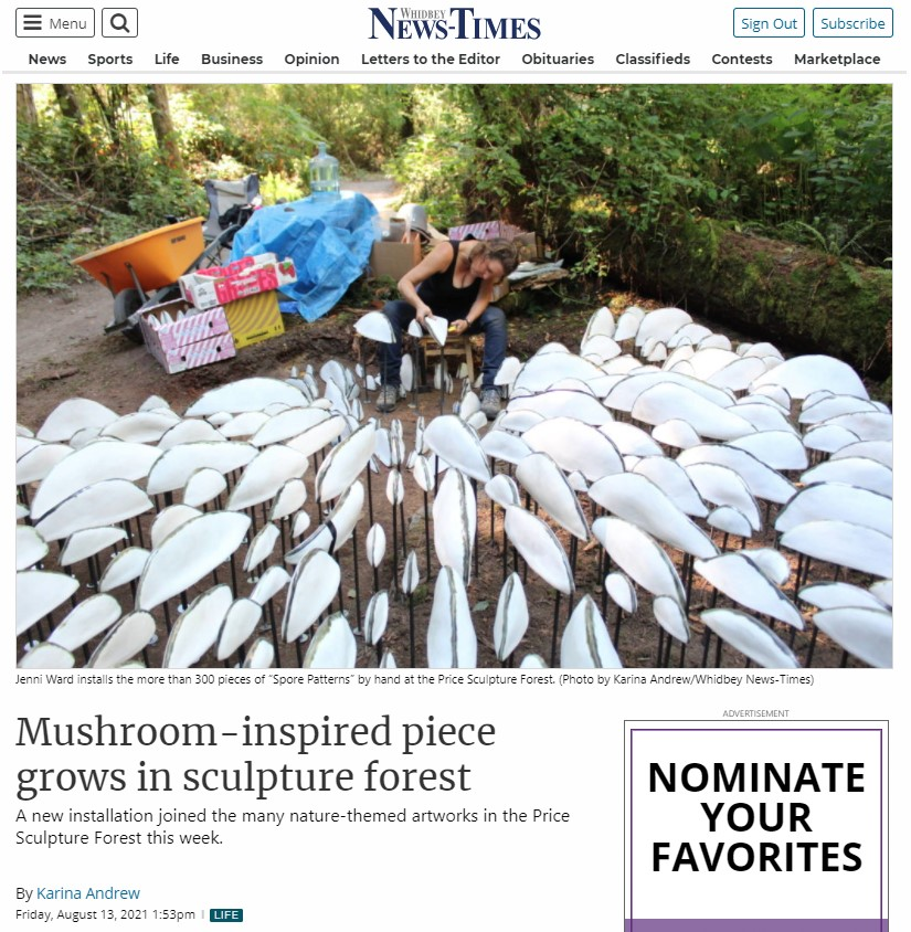 Whidbey News-Times article Mushroom-Inspired Piece Grows in Sculpture Forest about Jenni Ward Spore Patterns intro