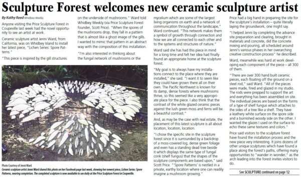 Whidbey Weekly article Sculpture Forest Welcomes New Ceramic Sculpture Artist by Kathy Reed intro about Jenni Ward at Price Sculpture Forest