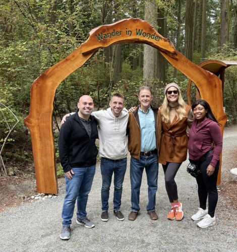 The Jet Set travel TV show hosts and videography crew with Scott at Price Sculpture Forest