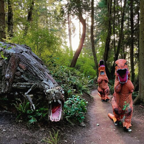 Tyrannosaurus Rex dinosaurs party with T Rex by Joe Treat at Price Sculpture Forest - photo and dinosaurs by Jackie Albor of Issaquah WA